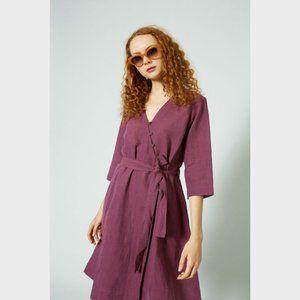 Gorman Purple Linen Cotton Wrap Dress 8
